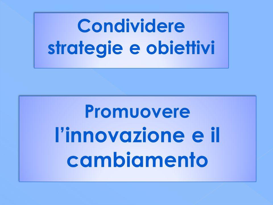 Condividere strategie e obiettivi Promuovere l'innovazione e il cambiamento