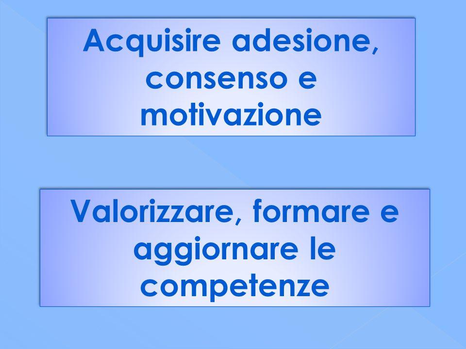 Acquisire adesione, consenso e motivazione Valorizzare, formare e aggiornare le competenze