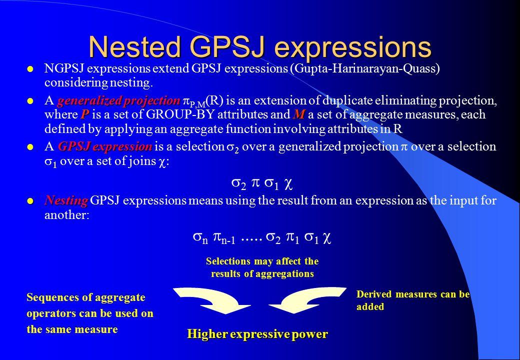 Higher expressive power Nested GPSJ expressions l NGPSJ expressions extend GPSJ expressions (Gupta-Harinarayan-Quass) considering nesting.