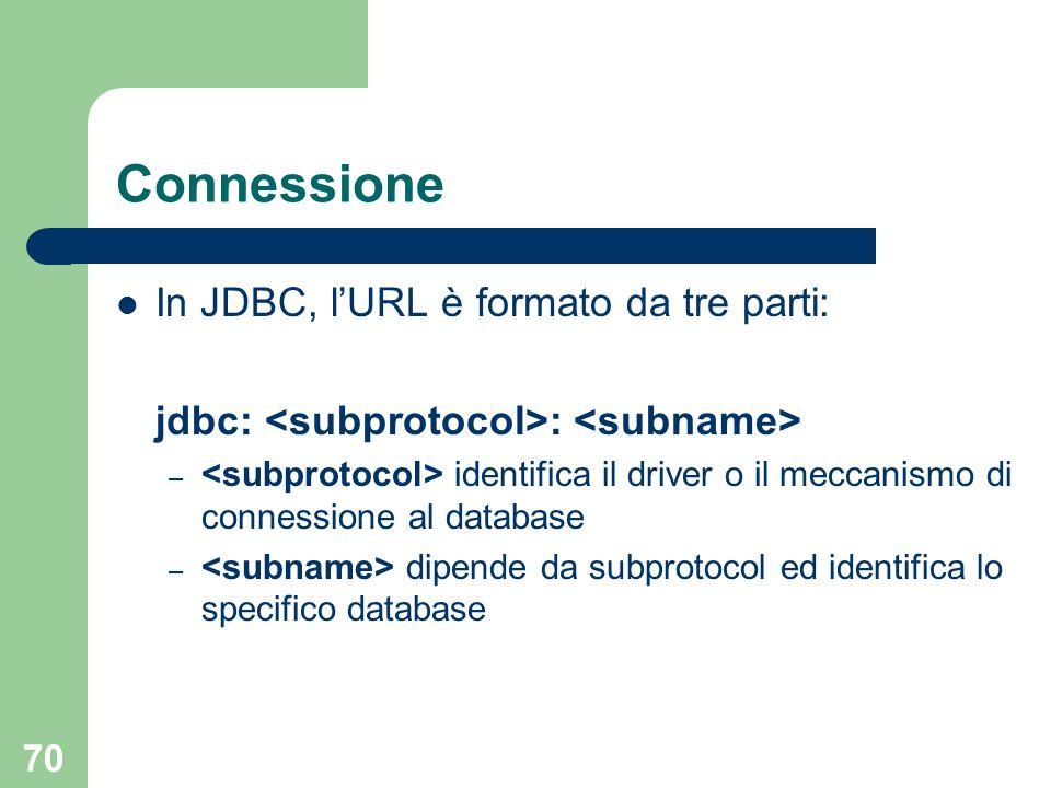 70 Connessione In JDBC, l'URL è formato da tre parti: jdbc: : – identifica il driver o il meccanismo di connessione al database – dipende da subprotocol ed identifica lo specifico database
