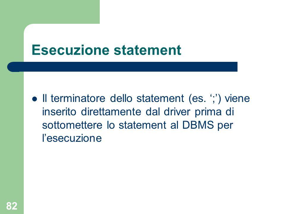 82 Esecuzione statement Il terminatore dello statement (es.