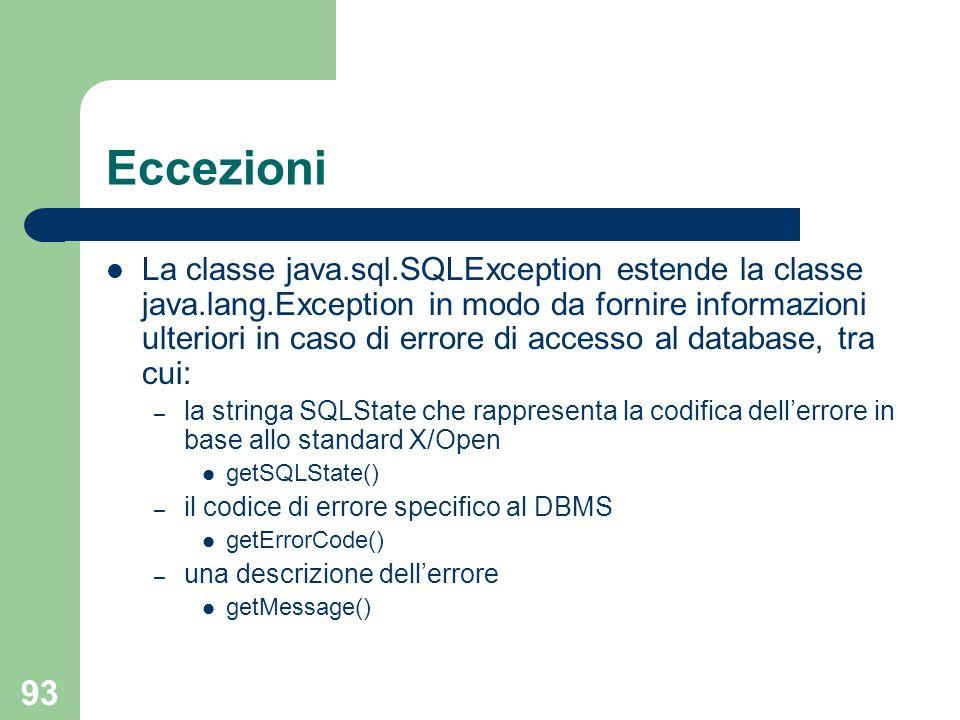 93 Eccezioni La classe java.sql.SQLException estende la classe java.lang.Exception in modo da fornire informazioni ulteriori in caso di errore di accesso al database, tra cui: – la stringa SQLState che rappresenta la codifica dell'errore in base allo standard X/Open getSQLState() – il codice di errore specifico al DBMS getErrorCode() – una descrizione dell'errore getMessage()