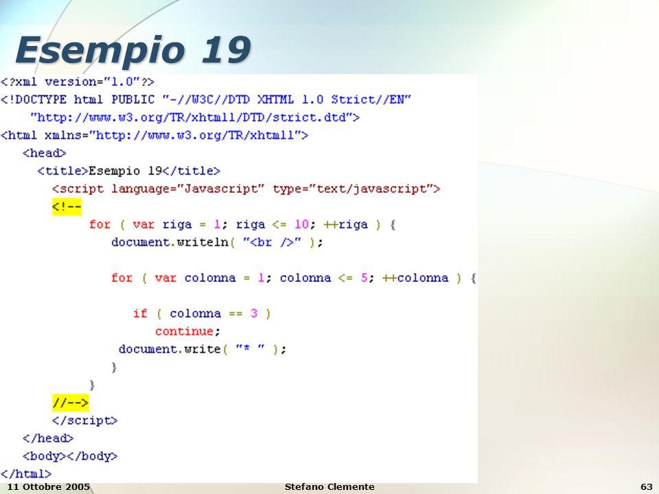 11 Ottobre 2005Stefano Clemente63 Esempio 19