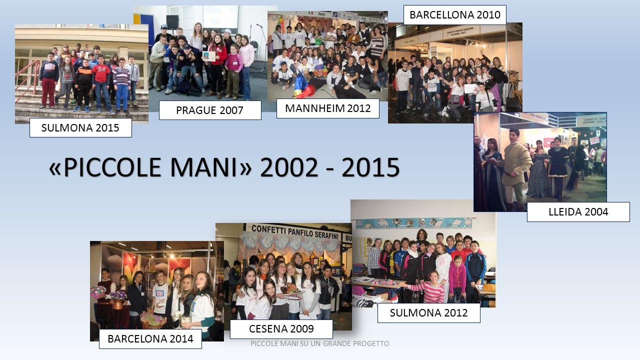 PICCOLE MANI SU UN GRANDE PROGETTO «PICCOLE MANI» 2002 - 2015 SULMONA 2012 BARCELLONA 2010 PRAGUE 2007 MANNHEIM 2012 LLEIDA 2004 CESENA 2009 BARCELONA 2014 SULMONA 2015