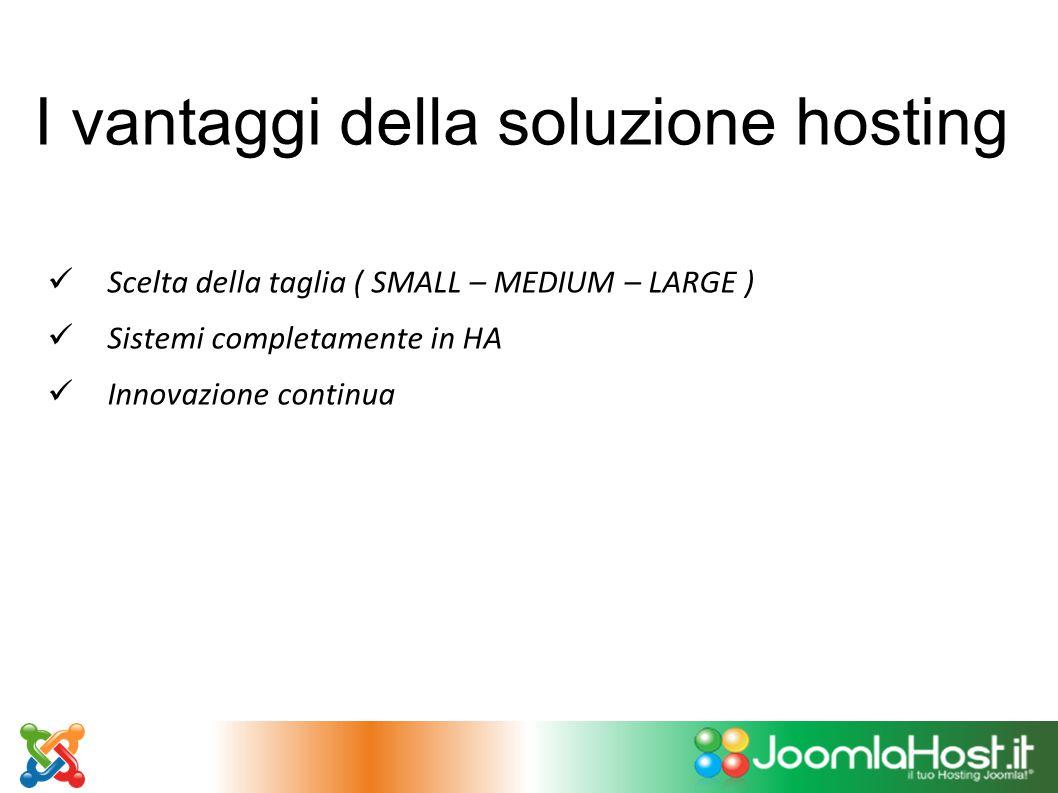 I vantaggi della soluzione hosting Scelta della taglia ( SMALL – MEDIUM – LARGE ) Sistemi completamente in HA Innovazione continua