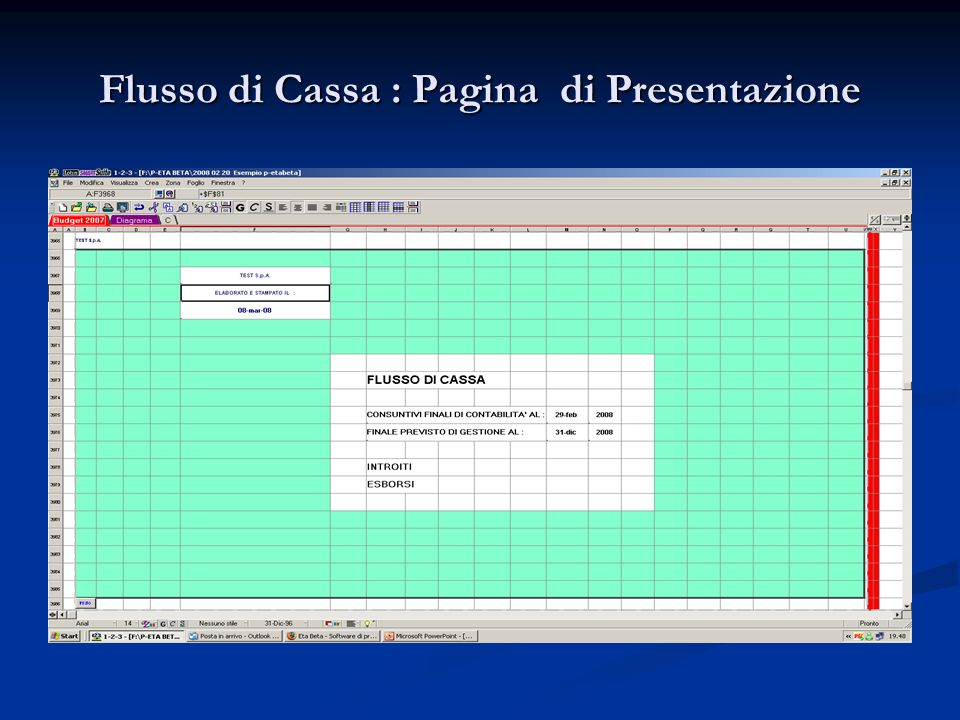 Flusso di Cassa : Pagina di Presentazione