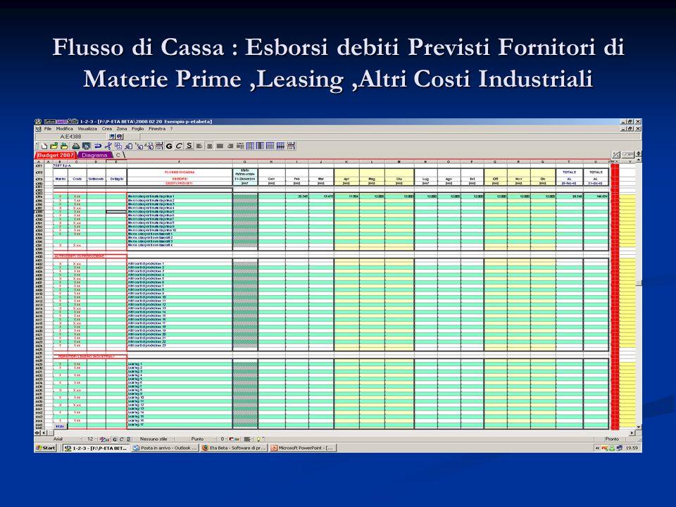 Flusso di Cassa : Esborsi debiti Previsti Fornitori di Materie Prime,Leasing,Altri Costi Industriali