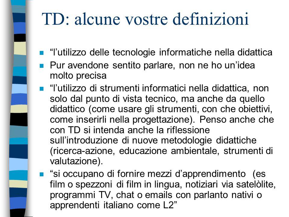 TD: alcune vostre definizioni n l'utilizzo delle tecnologie informatiche nella didattica n Pur avendone sentito parlare, non ne ho un'idea molto precisa n l'utilizzo di strumenti informatici nella didattica, non solo dal punto di vista tecnico, ma anche da quello didattico (come usare gli strumenti, con che obiettivi, come inserirli nella progettazione).