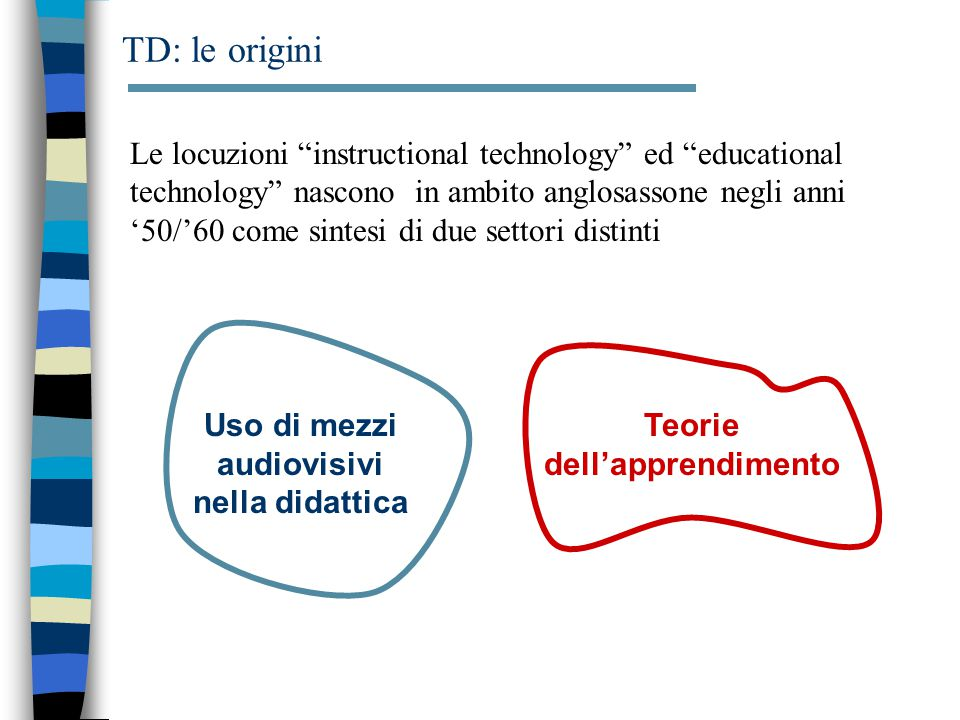 "TD: le origini Le locuzioni ""instructional technology"" ed ""educational technology"" nascono in ambito anglosassone negli anni '50/'60 come sintesi di d"
