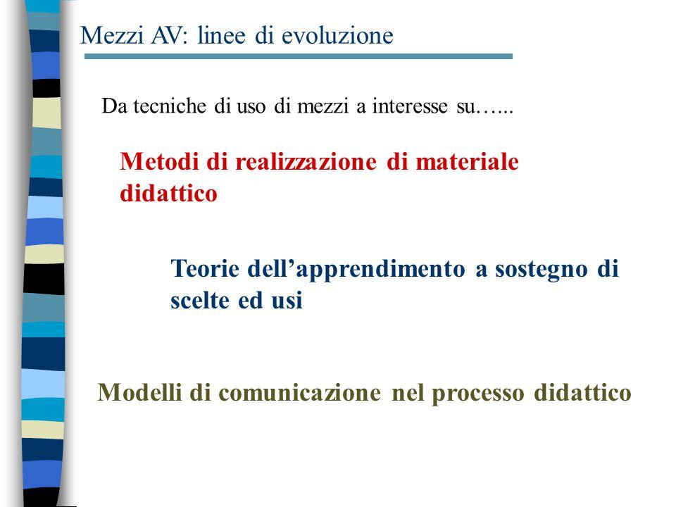 Mezzi AV: linee di evoluzione Da tecniche di uso di mezzi a interesse su…...