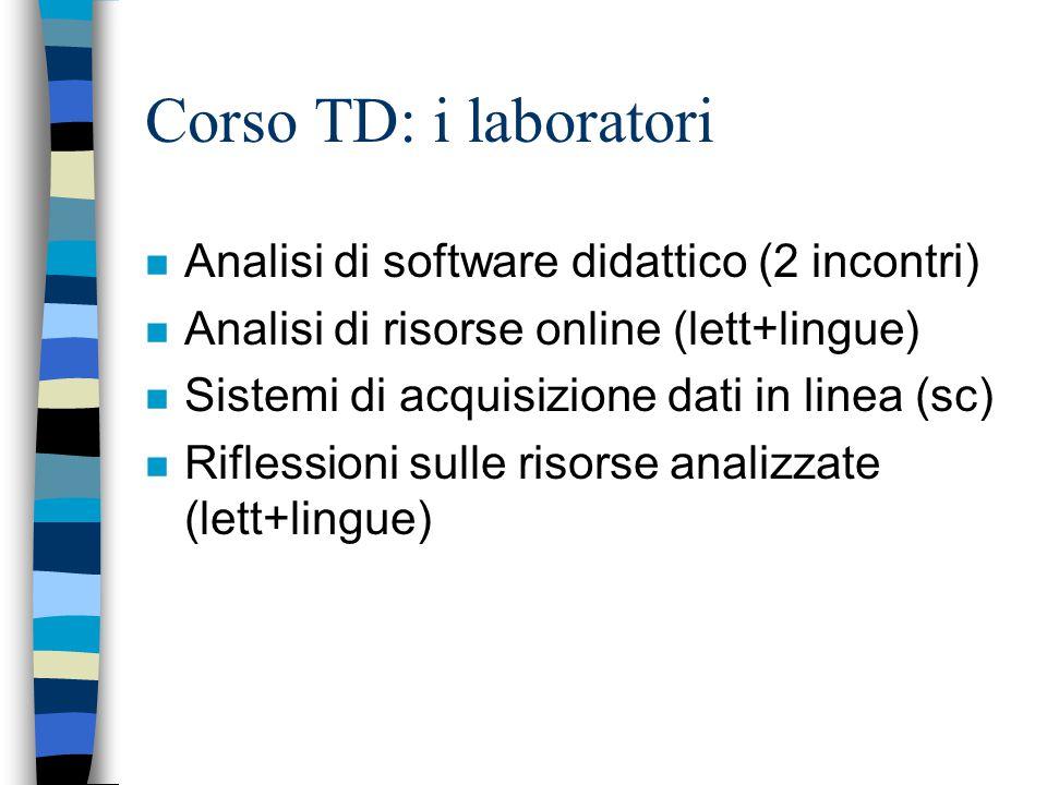 Corso TD: i laboratori n Analisi di software didattico (2 incontri) n Analisi di risorse online (lett+lingue) n Sistemi di acquisizione dati in linea (sc) n Riflessioni sulle risorse analizzate (lett+lingue)