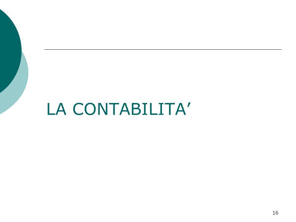 16 LA CONTABILITA'