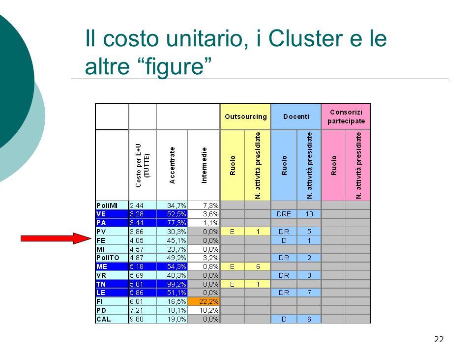 22 Il costo unitario, i Cluster e le altre figure