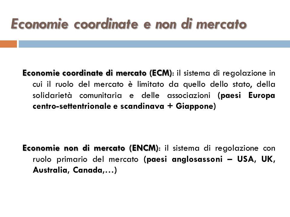 Economie coordinate e non di mercato Economie coordinate di mercato (ECM) Economie coordinate di mercato (ECM): il sistema di regolazione in cui il ru