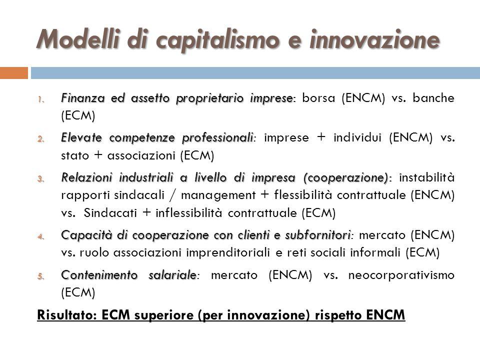 Modelli di capitalismo e innovazione 1. Finanza ed assetto proprietario imprese 1. Finanza ed assetto proprietario imprese: borsa (ENCM) vs. banche (E