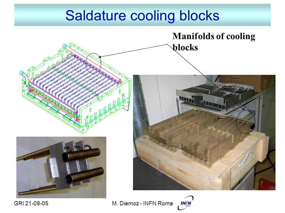 GRI 21-09-05M. Diemoz - INFN Roma Saldature cooling blocks Manifolds of cooling blocks