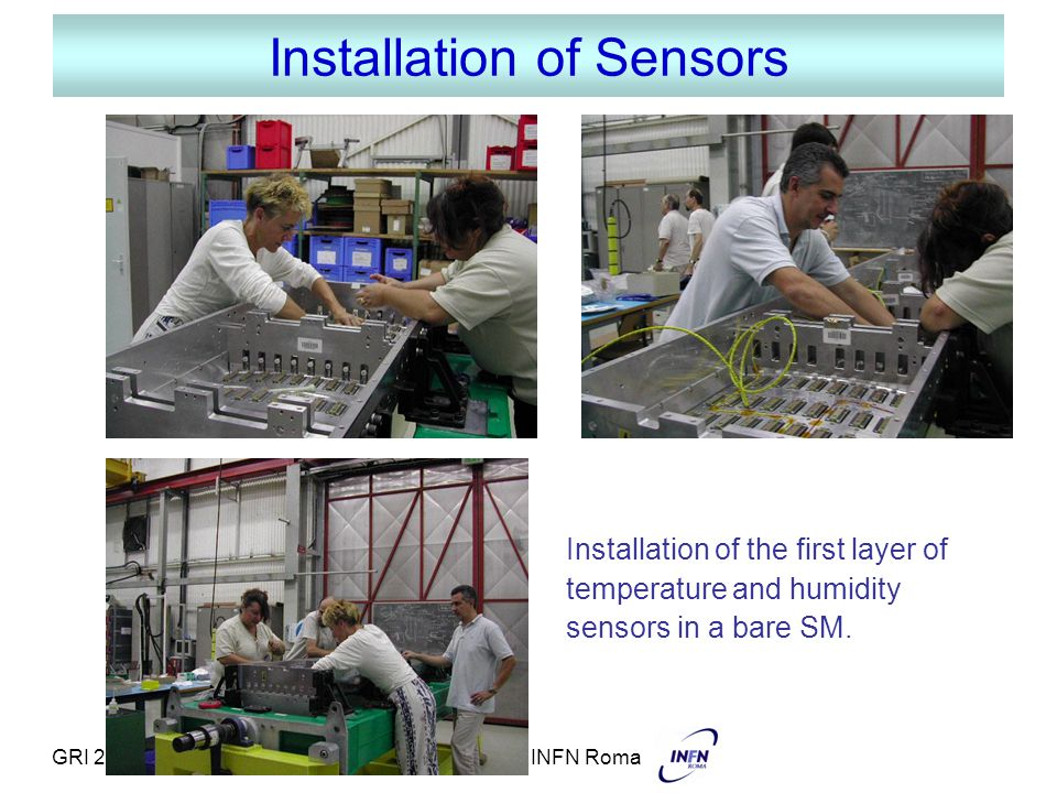 GRI 21-09-05M. Diemoz - INFN Roma Installation of Sensors Installation of the first layer of temperature and humidity sensors in a bare SM.