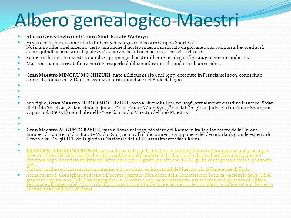 Albero genealogico Maestri Albero Genealogico del Centro Studi Karate Wadoryu Vi siete mai chiesti come è fatto l'albero genealogico del nostro Gruppo