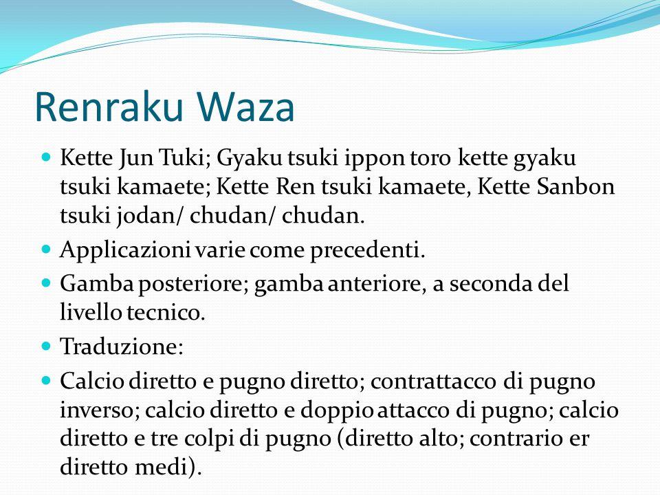 Uke Waza Arretrando Jodan uke gyaku tsuki kamaete; Uchi chudan uke gyaku tsuki kamaete; Soto chudan uke gyaku tsuki kamaete; Gedan barai gyaku tsuki Kiai, Yame, Musubi dachi, Rei.