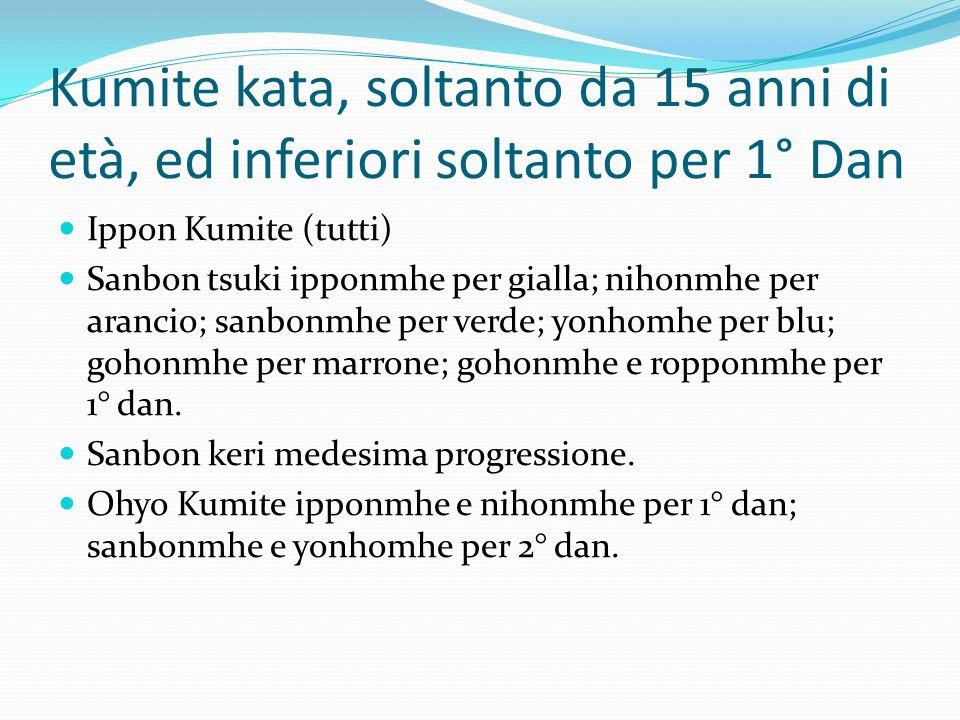 Kumite kata, soltanto da 15 anni di età, ed inferiori soltanto per 1° Dan Ippon Kumite (tutti) Sanbon tsuki ipponmhe per gialla; nihonmhe per arancio;