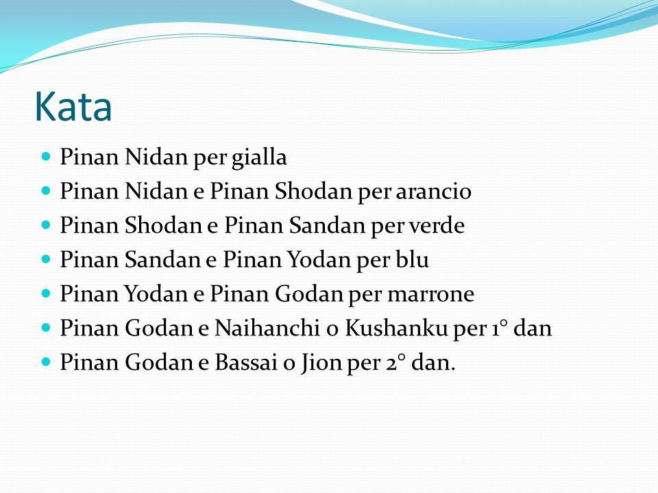 Kata Pinan Nidan per gialla Pinan Nidan e Pinan Shodan per arancio Pinan Shodan e Pinan Sandan per verde Pinan Sandan e Pinan Yodan per blu Pinan Yoda