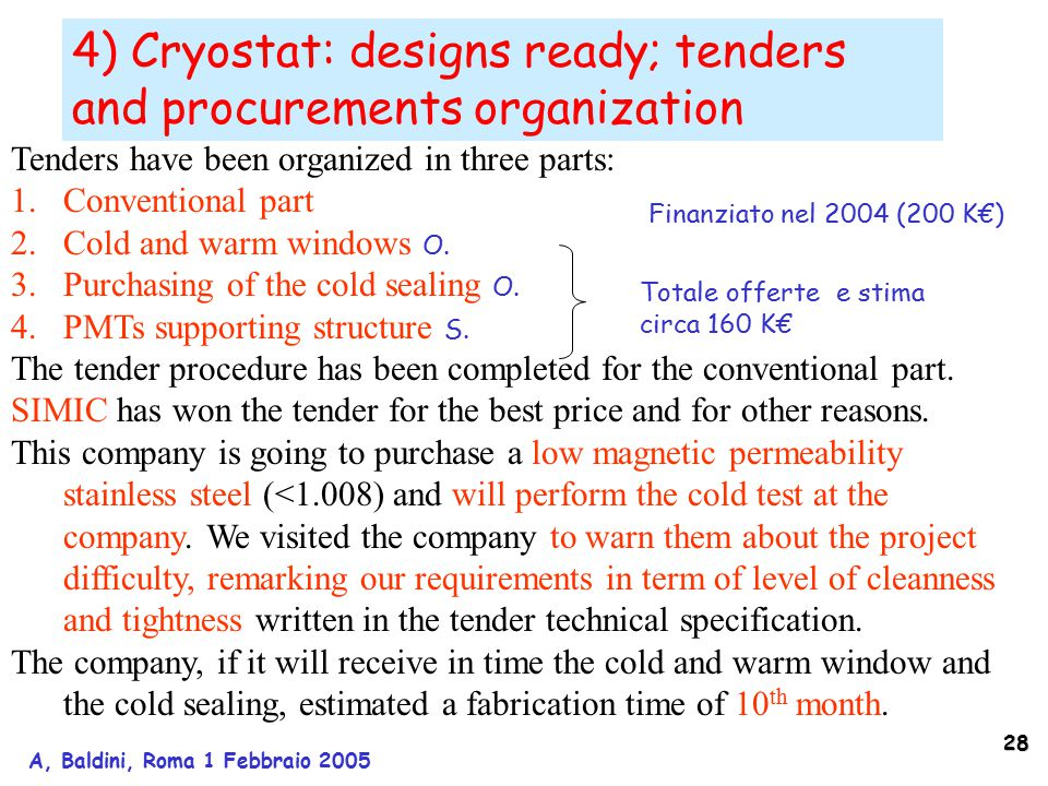 28 A, Baldini, Roma 1 Febbraio 2005 4) Cryostat: designs ready; tenders and procurements organization Tenders have been organized in three parts: 1.Conventional part 2.Cold and warm windows O.