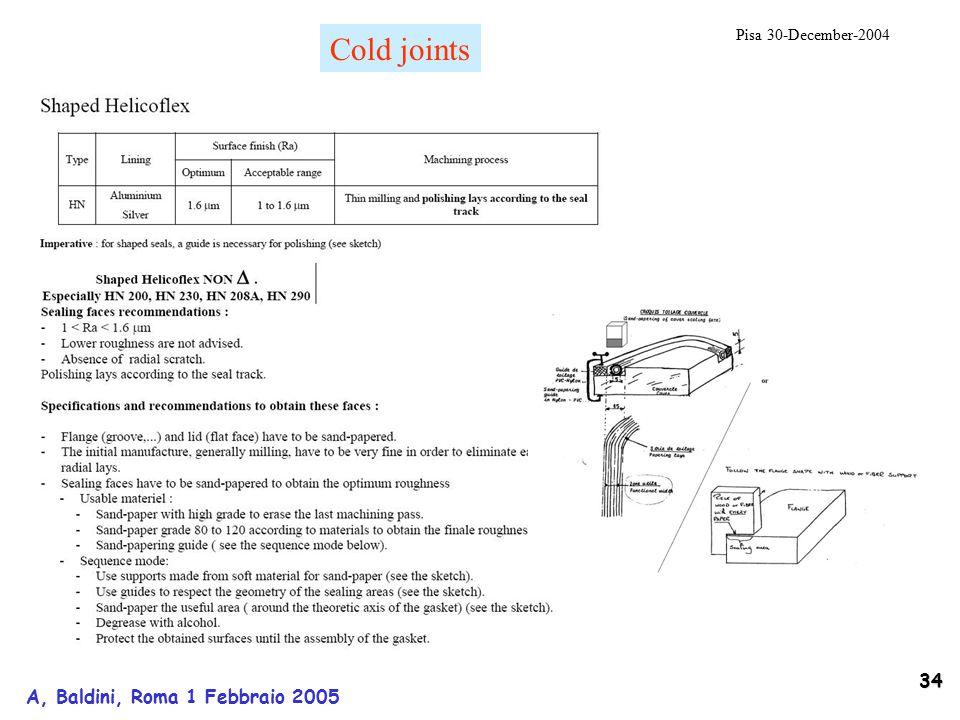 34 A, Baldini, Roma 1 Febbraio 2005 Pisa 30-December-2004 Cold joints