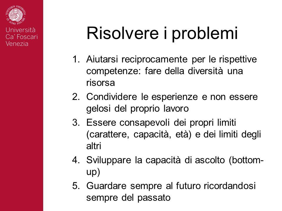 Risolvere i problemi 1.Aiutarsi reciprocamente per le rispettive competenze: fare della diversità una risorsa 2.Condividere le esperienze e non essere