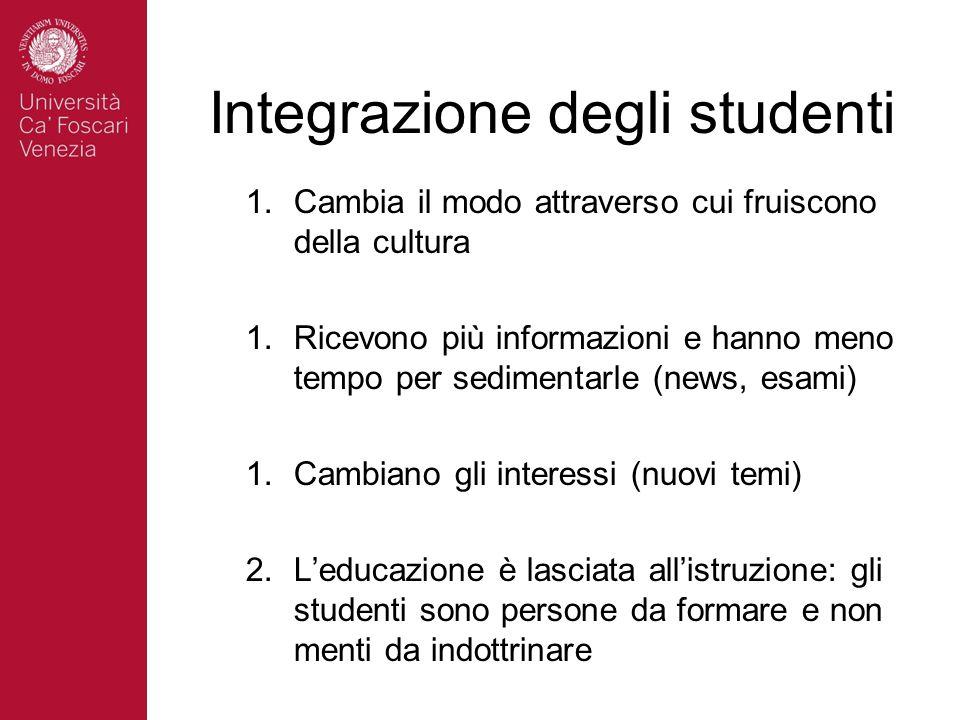 Integrazione degli studenti 1.Cambia il modo attraverso cui fruiscono della cultura 1.Ricevono più informazioni e hanno meno tempo per sedimentarle (n