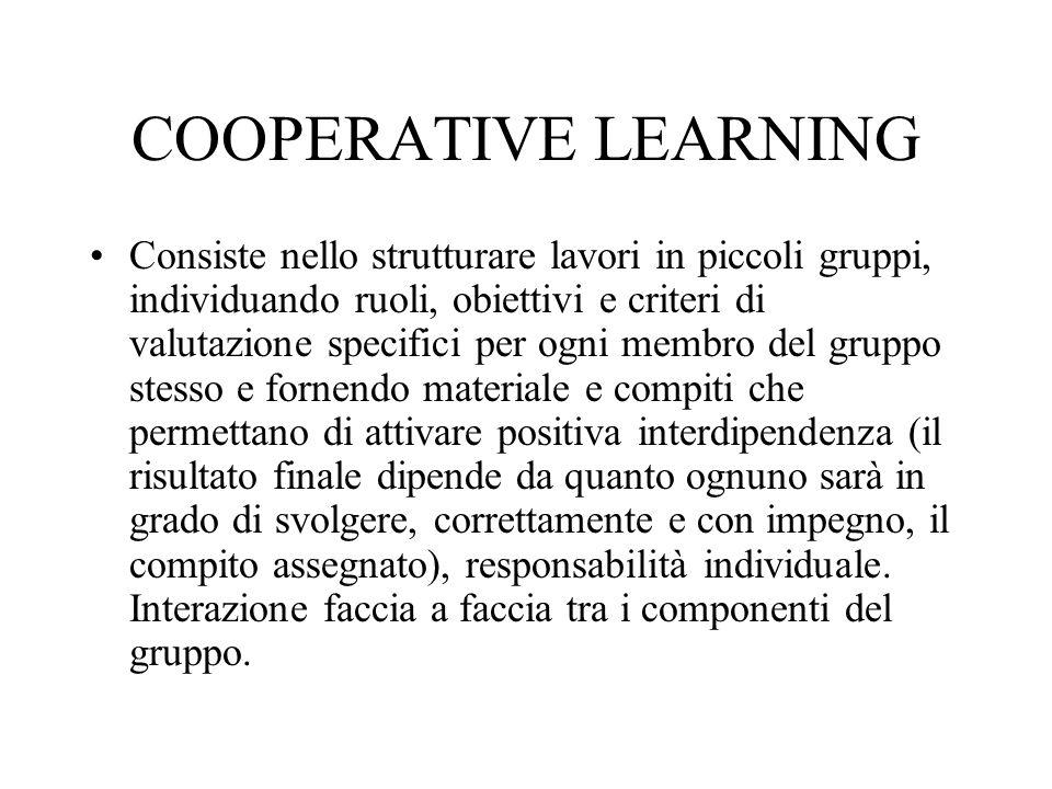 COOPERATIVE LEARNING Consiste nello strutturare lavori in piccoli gruppi, individuando ruoli, obiettivi e criteri di valutazione specifici per ogni me
