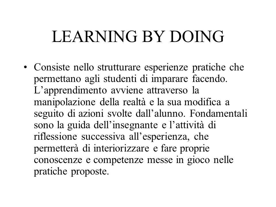 LEARNING BY DOING Consiste nello strutturare esperienze pratiche che permettano agli studenti di imparare facendo. L'apprendimento avviene attraverso