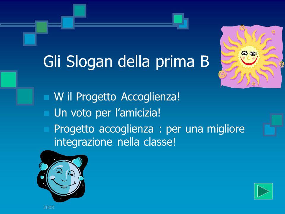 2003 Gli Slogan della prima B Veni al Roveggio che è il meno peggio! Accoglienza: utile ed interessante per inserirmi bene Accoglienza:per integrarsi