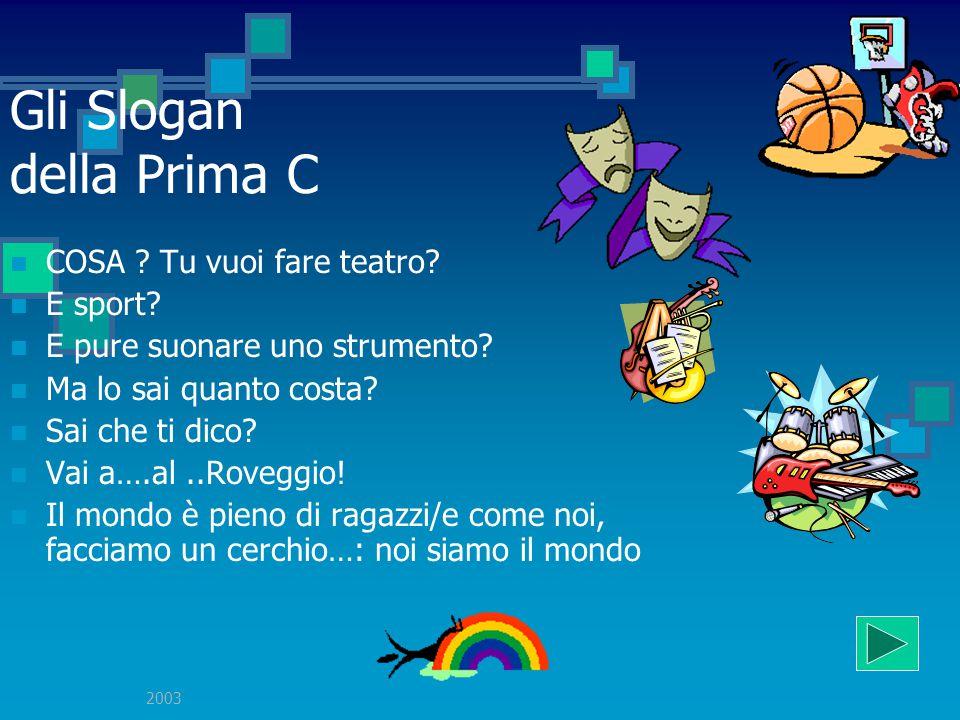 2003 Gli Slogan della Prima C W la scuola! Mitico! Il Roveggio è un bella scuola! Uniti si arriva ovunque! L'accoglienza è un buon inizio…il resto si