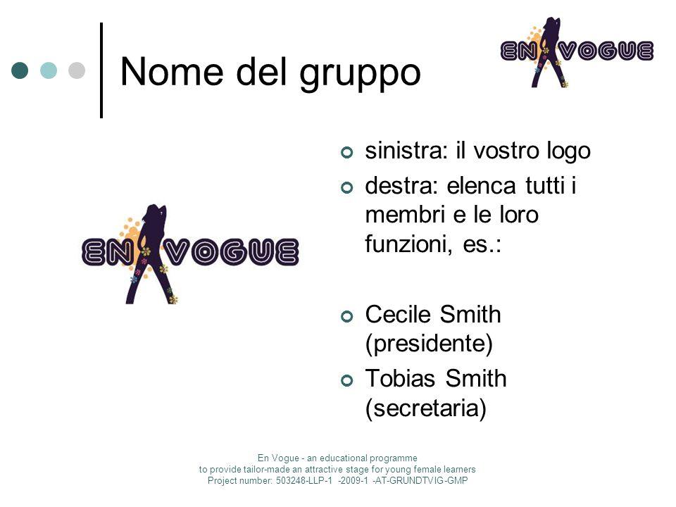 Nome del gruppo sinistra: il vostro logo destra: elenca tutti i membri e le loro funzioni, es.: Cecile Smith (presidente) Tobias Smith (secretaria) En
