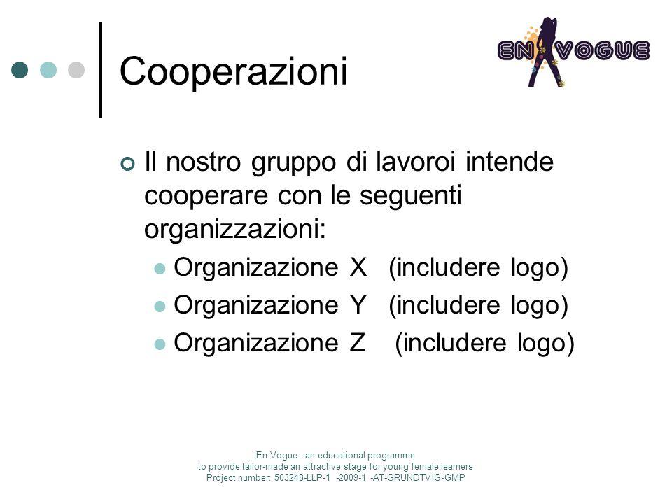 Cooperazioni Il nostro gruppo di lavoroi intende cooperare con le seguenti organizzazioni: Organizazione X (includere logo) Organizazione Y (includere