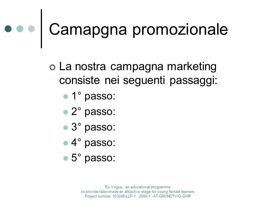 Camapgna promozionale La nostra campagna marketing consiste nei seguenti passaggi: 1° passo: 2° passo: 3° passo: 4° passo: 5° passo: En Vogue - an edu