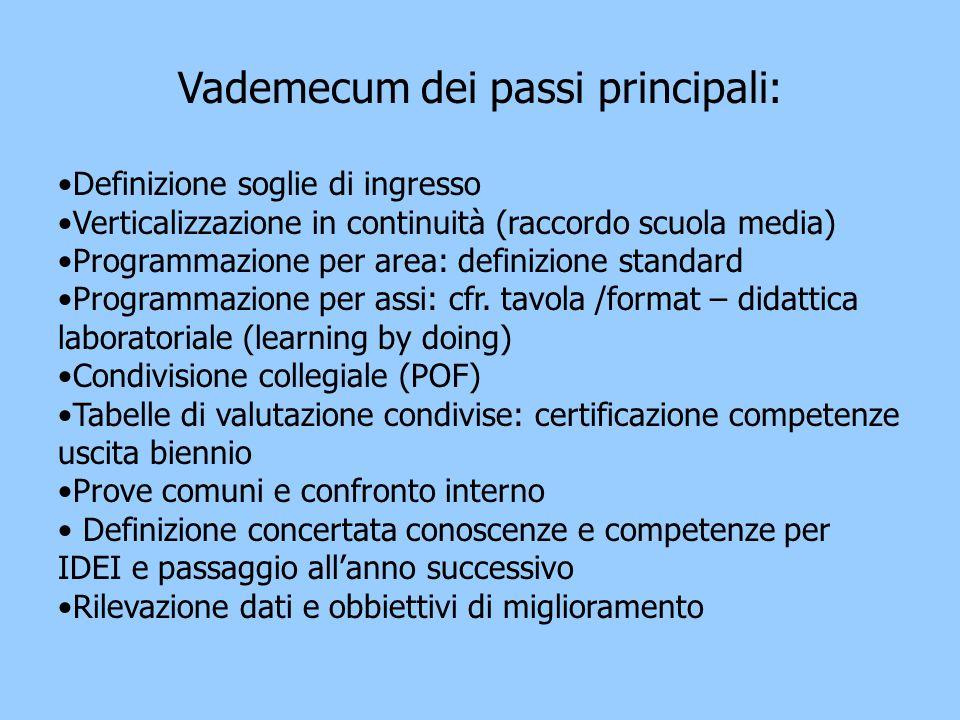 Vademecum dei passi principali: Definizione soglie di ingresso Verticalizzazione in continuità (raccordo scuola media) Programmazione per area: definizione standard Programmazione per assi: cfr.