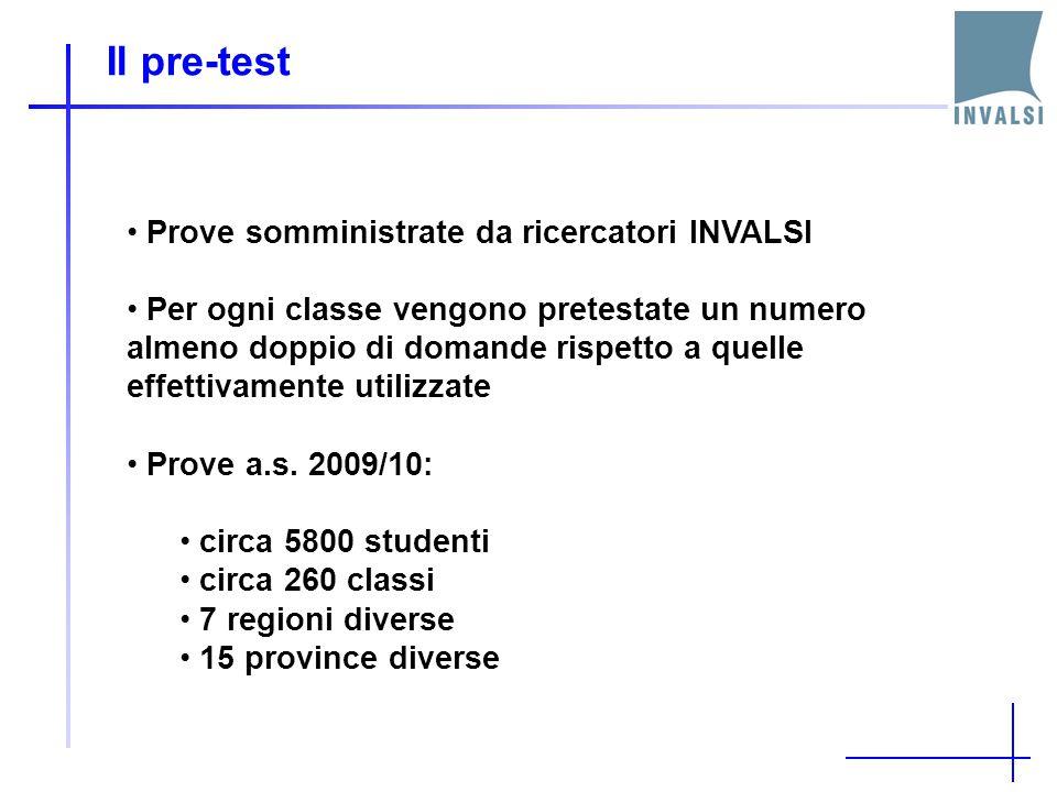 Il pre-test Prove somministrate da ricercatori INVALSI Per ogni classe vengono pretestate un numero almeno doppio di domande rispetto a quelle effettivamente utilizzate Prove a.s.