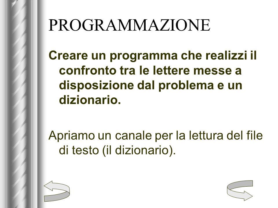 PROGRAMMAZIONE Creare un programma che realizzi il confronto tra le lettere messe a disposizione dal problema e un dizionario. Apriamo un canale per l