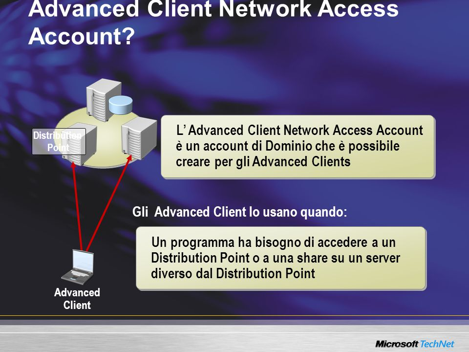 Gli Advanced Client lo usano quando: Advanced Client Network Access Account.