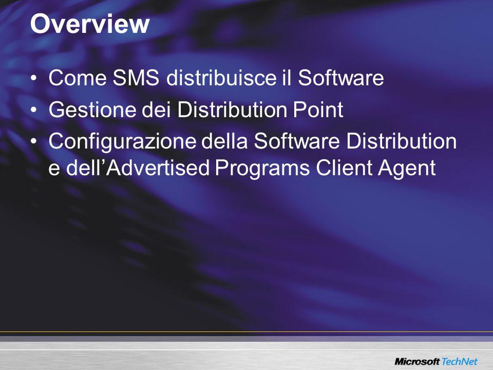 Il client: Verifica se ci sono nuove applicazioni da avviare Come il client gestisce la Software Distribution Advanced ClientLegacy Client Distribution Point 1 1 Primary Site CAP Avvia le applicazioni secondo le configurazioni nel sito Invia il proprio stato al sito 3 3 2 2 Management Point