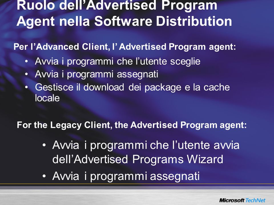 Per l'Advanced Client, l' Advertised Program agent: Ruolo dell'Advertised Program Agent nella Software Distribution Avvia i programmi che l'utente sce