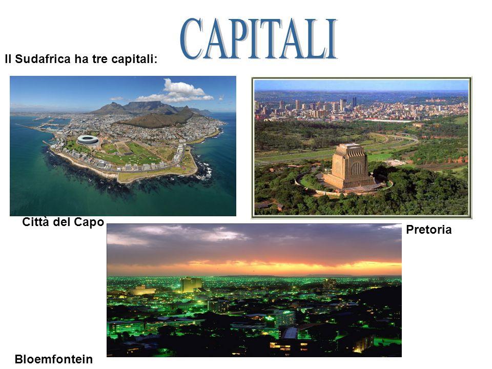 Il Sudafrica ha tre capitali: Città del Capo Pretoria Bloemfontein