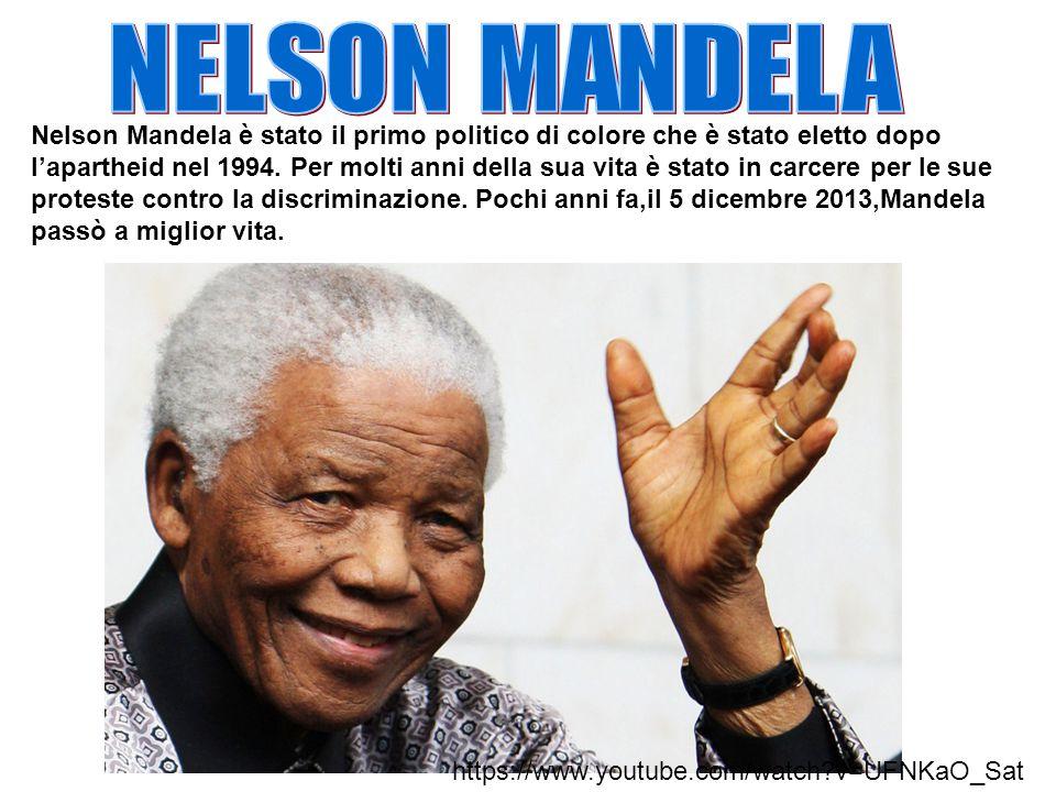 Nelson Mandela è stato il primo politico di colore che è stato eletto dopo l'apartheid nel 1994.
