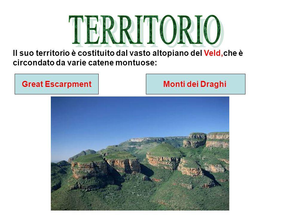 Il suo territorio è costituito dal vasto altopiano del Veld,che è circondato da varie catene montuose: Great EscarpmentMonti dei Draghi