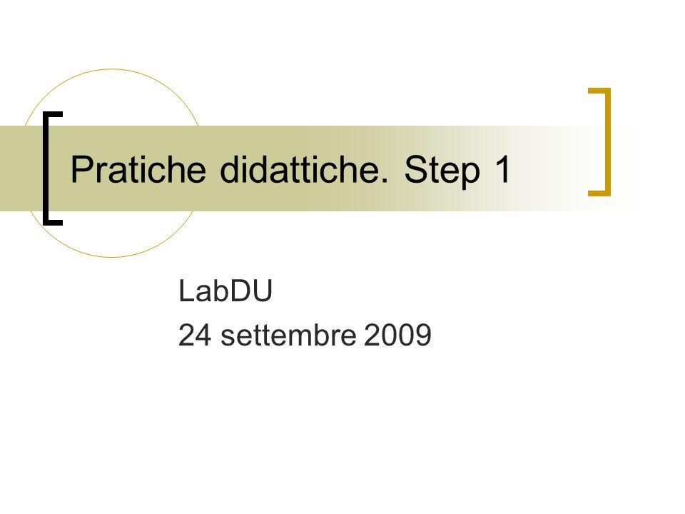 Pratiche didattiche. Step 1 LabDU 24 settembre 2009