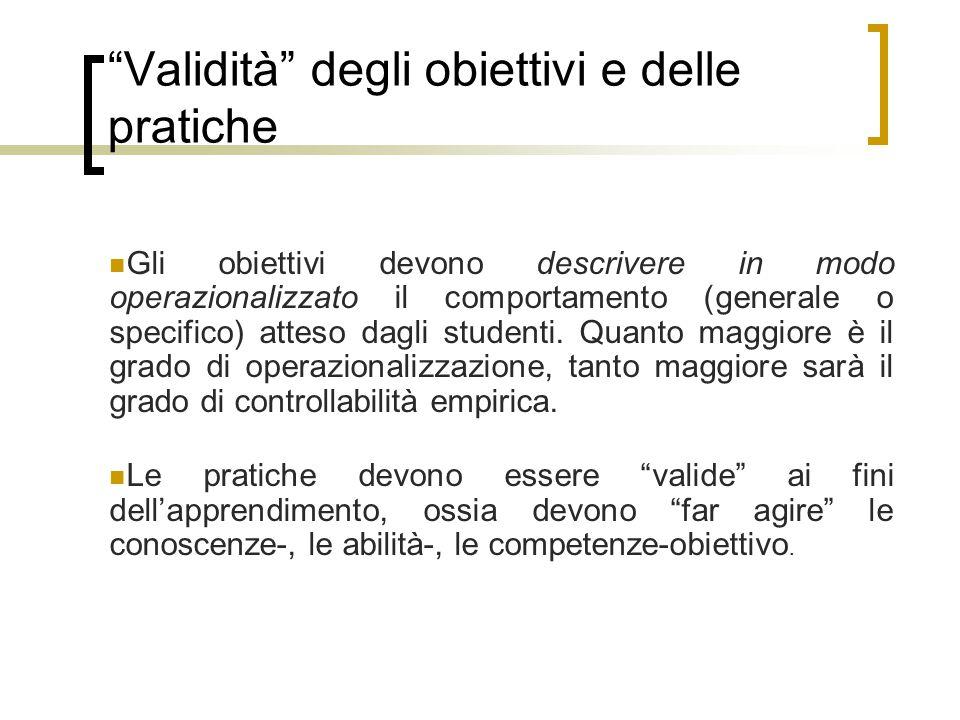 Validità degli obiettivi e delle pratiche Gli obiettivi devono descrivere in modo operazionalizzato il comportamento (generale o specifico) atteso dagli studenti.