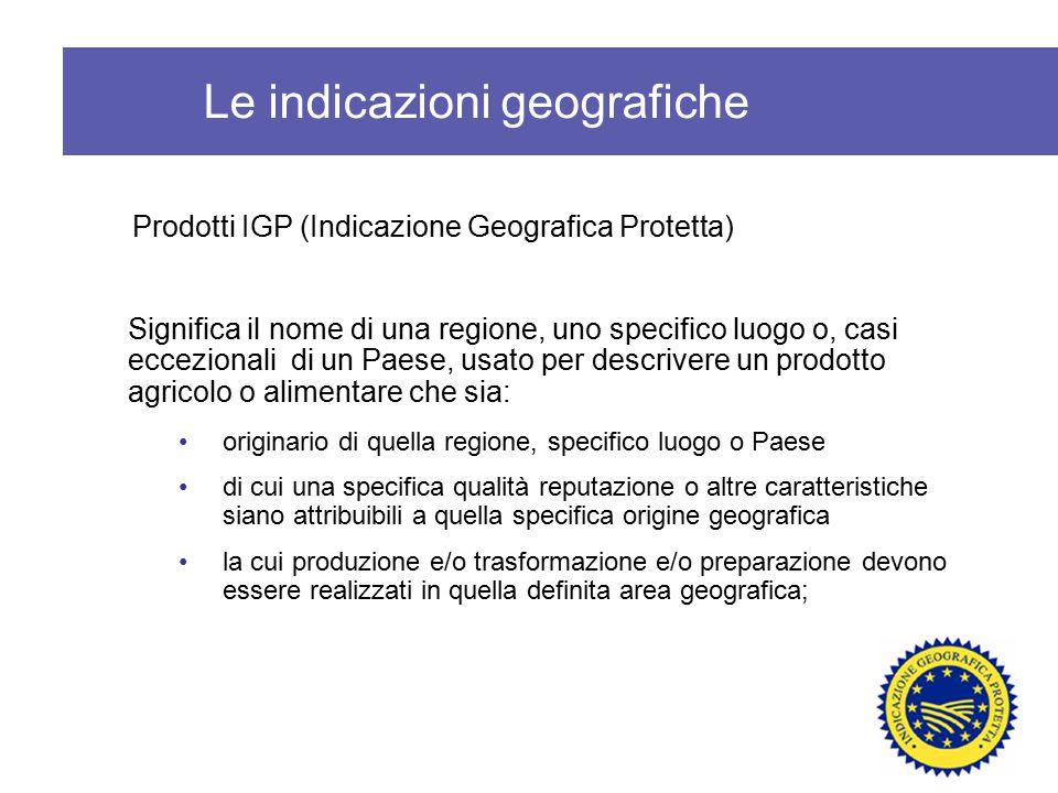 Prodotti IGP (Indicazione Geografica Protetta) Significa il nome di una regione, uno specifico luogo o, casi eccezionali di un Paese, usato per descri