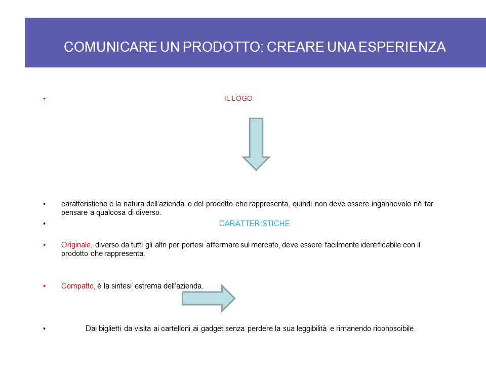 COMUNICARE UN PRODOTTO: CREARE UNA ESPERIENZA IL LOGO caratteristiche e la natura dell'azienda o del prodotto che rappresenta, quindi non deve essere