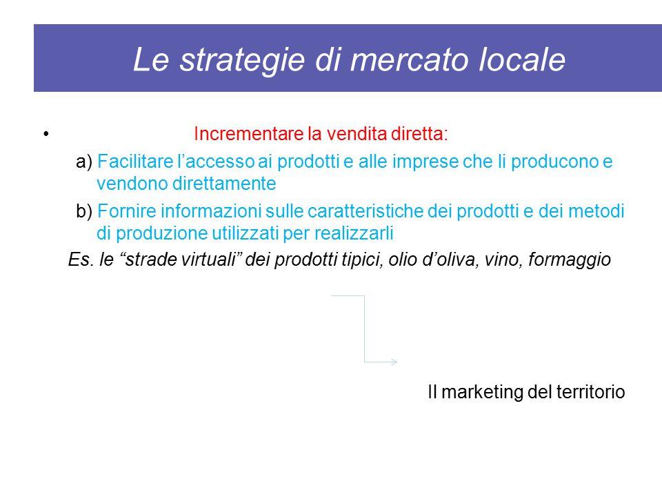 Le strategie di mercato locale Incrementare la vendita diretta: a) Facilitare l'accesso ai prodotti e alle imprese che li producono e vendono direttam